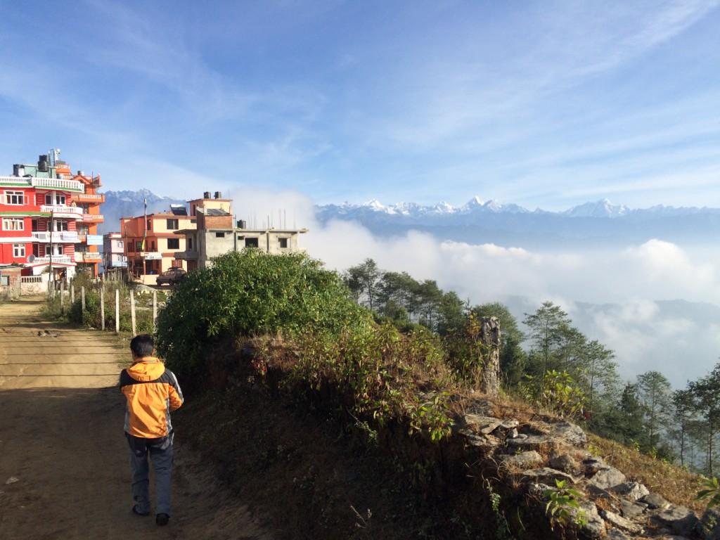 Morgen i Chisopani, bjergby med vel nok max 10 huse incl hotellet.