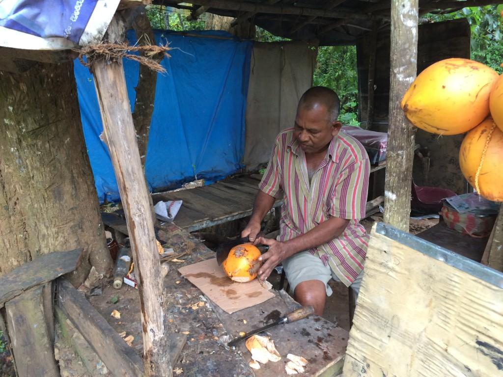 Frisk kokos-drik til den cyklende dansker bliver klargjort.