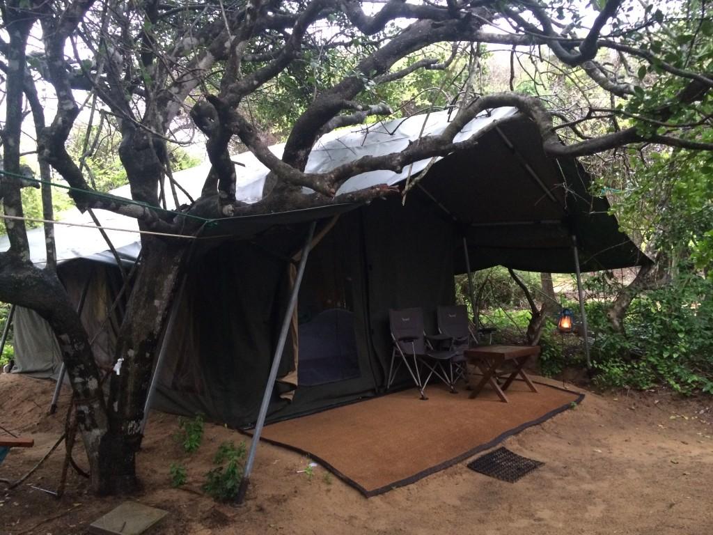 Mit telt fra natten ved Den Bengalske Bugt.