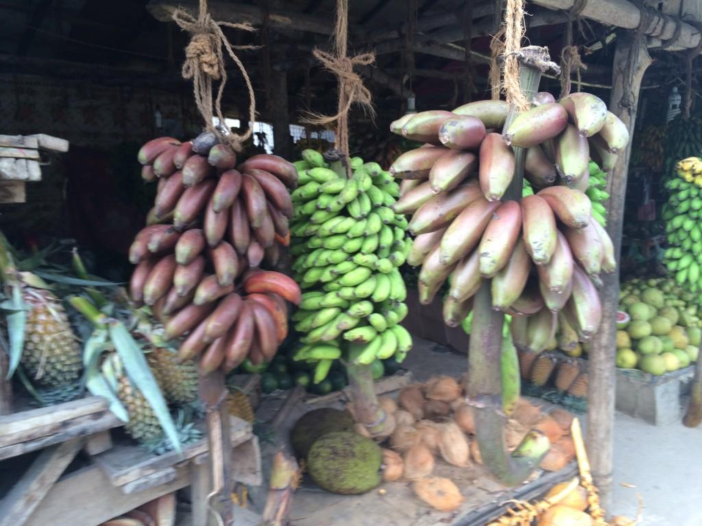 Røde bananer er meget normalt i Sri Lanka. Marked i Unawatuna.